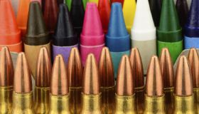 Back to school concept studio shot with bullets as neccisary supplies