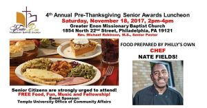 Free Seniors Pre-Thanksgiving Luncheon at Greater Enon Missionary Baptist Church
