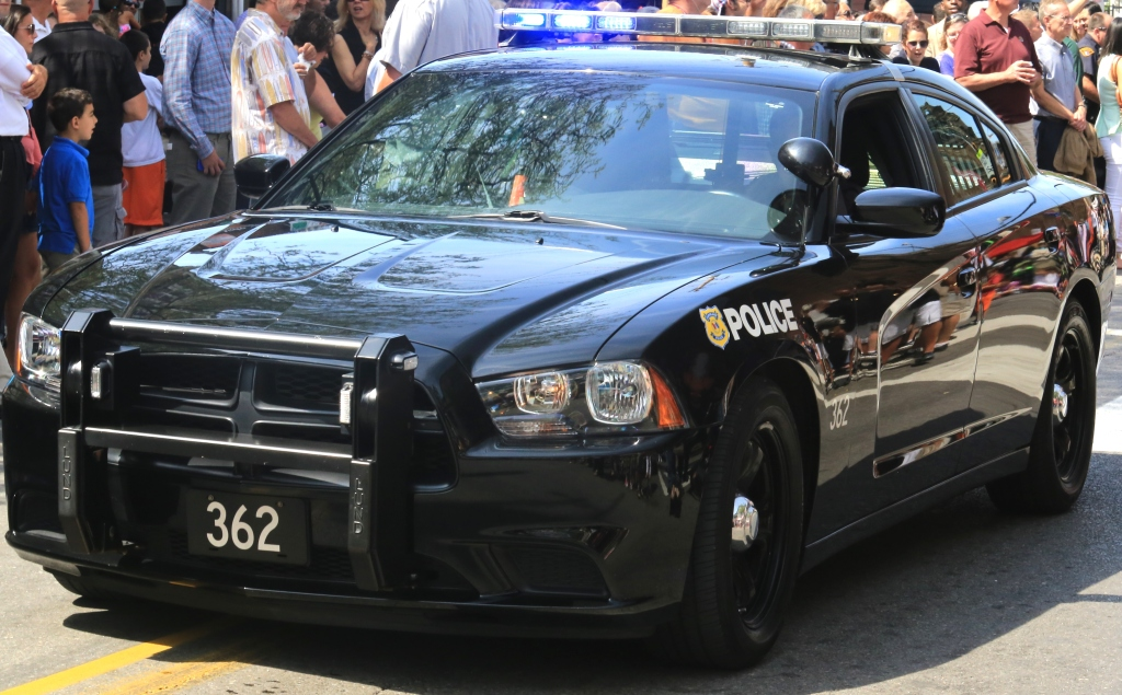 Close-up of a Police car with flashing lights