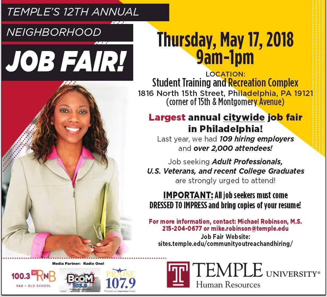 Temple University Job Fair Flyer