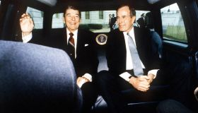 President Ronald Reagan And Vice President George Bush On Reagan's Last Day As Presiden...